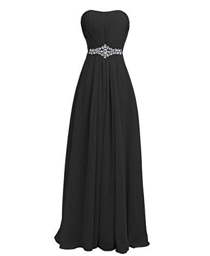 Abendkleider Crystal Damen Schulterfrei Brautjungfernkleides Lang Fanciest Black wPXqaAW