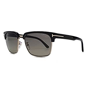 Tom Ford Men's River Clubmaster Sunglasses in Shiny Black Polarised FT0367 01D 57