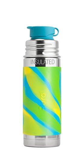 Pura Sport 9 oz / 260 ml Stainless Steel Insulated Kids Sport Bottle with Silicone Sport Flip Cap & Sleeve, Aqua Swirl (Plastic Free, NonToxic Certified, BPA Free)