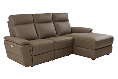 Right Reclining Sectional - Homelegance 83083LC5R Olympia 3 Piece Power Reclining Sofa with Right Side Chaise & USB Charging Port Top Grain Leather Match, Raisin