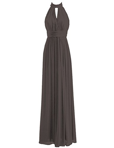 Bridesmaid Dresses Long Prom Dress Chiffon Halter Evening Gowns Pleat Wedding Party Dress Charcoal Grey M