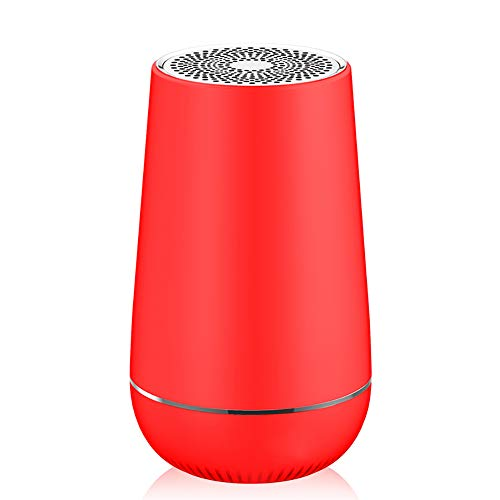 DAWANG Mini Wireless subwoofer interconnect Noise Reduction 3D Surround Sound Bluetooth subwoofer Instant Pairing & Built in Mic,Red