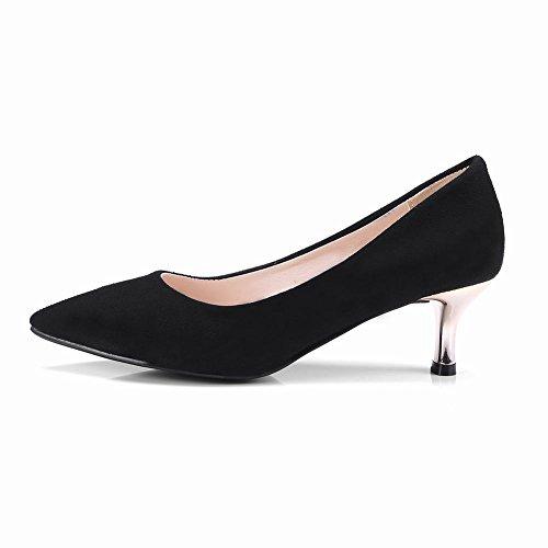 Mee Shoes Women's Work Slip On Mid Heel Court Shoes Black QkTIt9prV