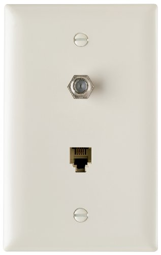 Legrand - Pass & Seymour TPTELTVLACC10 One Telephone One F Type Coax in One Gang Wall Plate Easy Install, Light Almond
