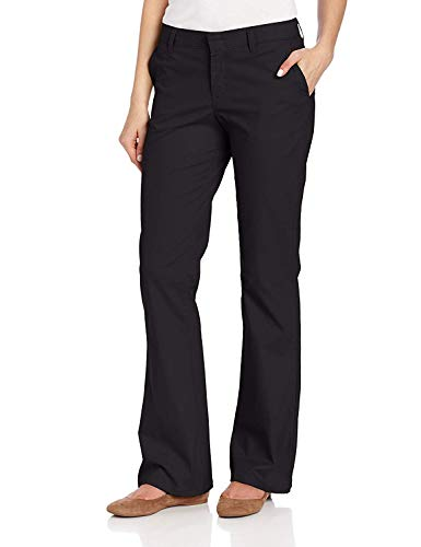 Dickies Women's Flat Front Stretch Twill Pant Slim Fit Bootcut, Black, 10 Regular