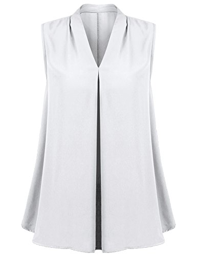 Concep Swing Tank Tops Ladies Sleeveless V Neck Pleated Chiffon Blouse Tunic Shirt (White, ()