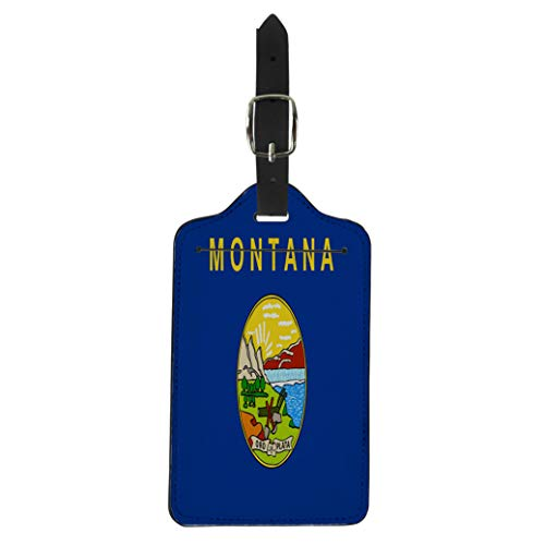 Pinbeam Luggage Tag Blue Abstract Flag of Montana State Symbol Yellow Suitcase Baggage Label (State Symbol Montana)