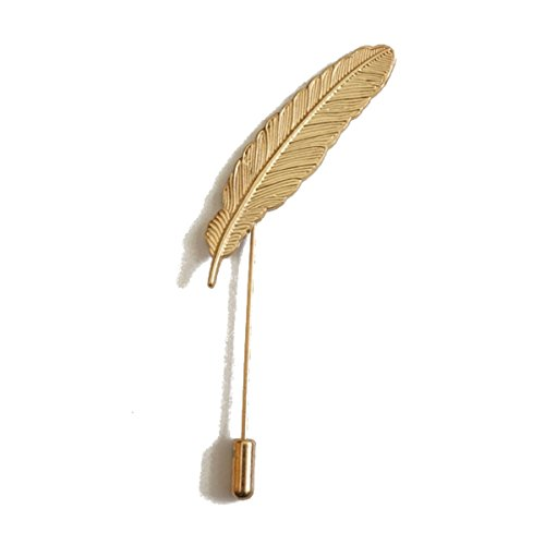Leaf Pin Gold Brooch (Sunny Home Men's Feather Leaf Golden Flower Lapel Stick Brooch Pin for Suit)