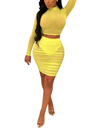 Womens Sheer Mesh Two Piece Skirt Outfits Bodycon Mock Neck Long Sleeve Crop Top and Skirt Set Clubwear Yellow