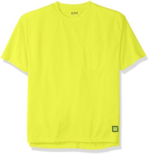 Berne Men's Enhanced-Visibility Short Sleeve Pocket Tee Shirt, Yellow, 2X-Large