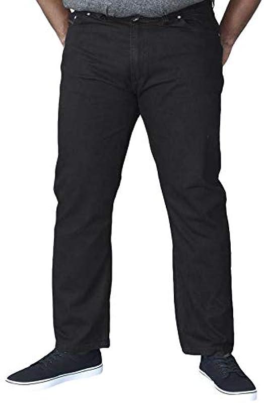 Duke London Mens elastyczne nowe dżinsy w talii Denim Kingsize czarne: Odzież