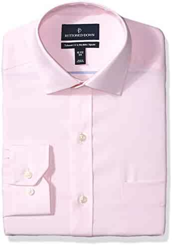 6f739e62f Amazon Brand - BUTTONED DOWN Men's Tailored Fit Spread-Collar Solid  Pinpoint Non-Iron