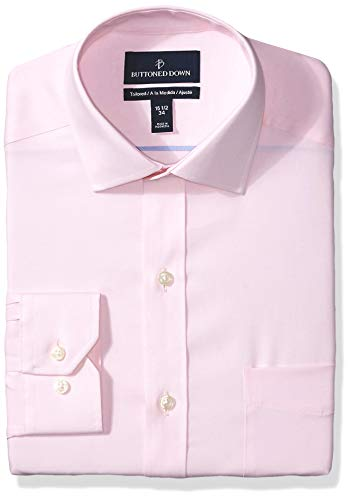 BUTTONED DOWN Men's Tailored Fit Spread Collar Solid Non-Iron Dress Shirt, Light Pink/Pockets, 17