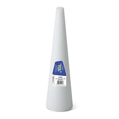 FloraCraft Styrofoam Cone 3.8 Inch x 14.8 Inch White -
