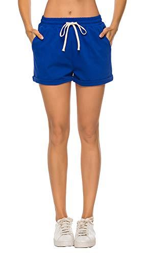 AvaCostume Women's Plus Size Summer Drawstring Elastic Waist Beach Casual Cotton Shorts Blue 2XL (Plus Size Blue Shorts)