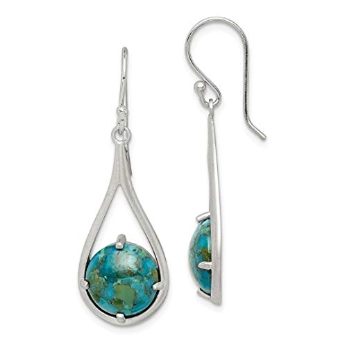 925 Sterling Silver Reconstituted Blue Turquoise Shepherd Hook Drop Dangle Chandelier Earrings Fine Jewelry Gifts For Women - Valentines Day Gifts For Her