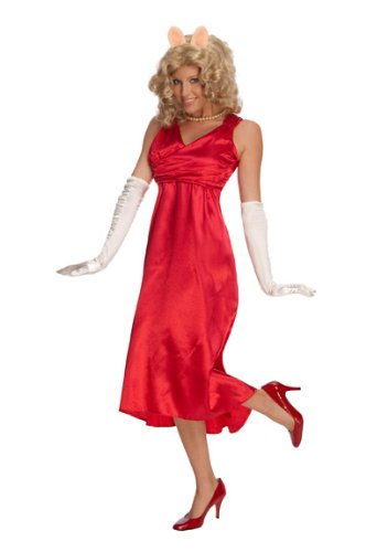 Miss Piggy Costume Women (The Muppets Deluxe Miss Piggy Dress, Red, One Size Costume)