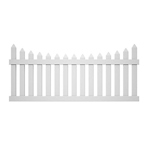 Veranda Vinyl Fence Panels: Pro Series 42 in. x 8 Ft. Vinyl White Westchester Scalloped Spaced Picket Fence Panel - Unassembled 128016