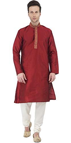 Long Sleeve and Button Down Red Shirt Kurta Men Dress Pajamas Set Indian Ethnic Fashion Wear -M