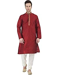 SKAVIJ Men's Art Silk Kurta Pajama Set Party Wear Dress