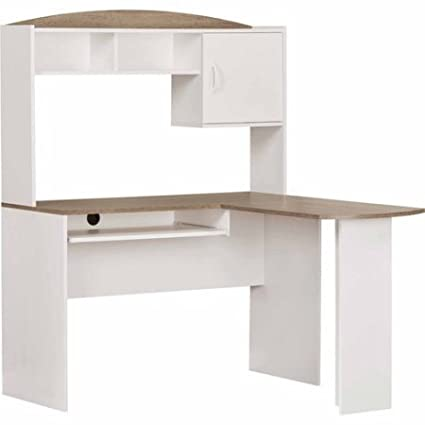 Bon Corner L Shaped Office Desk With Hutch (White/Oak)