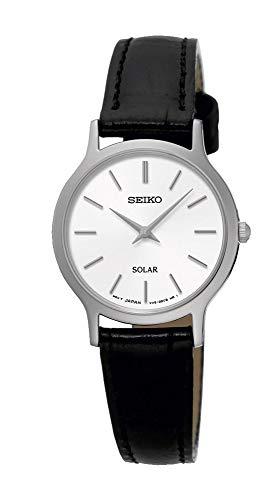 Seiko Solar SUP299 White Dial Black Leather Band Women's Watch -