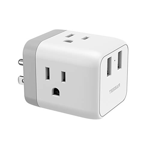 Multi Plug Outlet Extender with 2 USB Wall Charger, Travel Power Strip Extension for Cruise Ship Accessories, Charging Cube 3 Way Plug Wall Adapter Tap Multiple Outlet ()