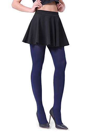 Fitrell Opaque Tights For Women Fashion Control Top Pantyhose 1 Pairs, Navy, S (Top Slim Pantyhose Control)