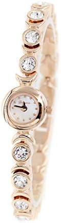 女性のクリスタルアクセント高級シルバートーンバングル時計ジュエリーブレスレット腕時計 (Color : ローズゴールド)