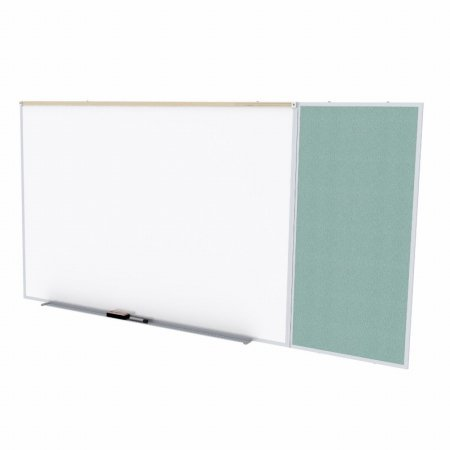 Ghent SPC410C-V-199 4 ft. x 10 ft. Style C Combination Unit - Porcelain Magnetic Whiteboard and Vinyl Fabric Tackboard - Stone by Ghent
