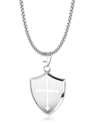 (LOLIAS Stainless Steel Shield Armor of God Joshua 1:9b Shield of Faith Necklace,Faith Cross Pendant Necklace for Men 24)