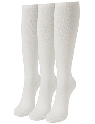 Ivory Knee Sock (OSABASA Womens Casual Knee High Socks 3Pairs 1 Set with Cute Colorful Pattern(SET3KWMS0192-IVORY))