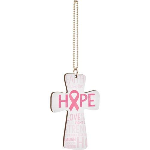 (Rcow décor Hope Pink Ribbon Breast Cancer Awareness Car Charm, Hang on Rear View Mirror!)