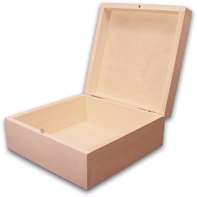 Caja de madera cuadrada, caja de madera de tilo sin tratar: Amazon ...