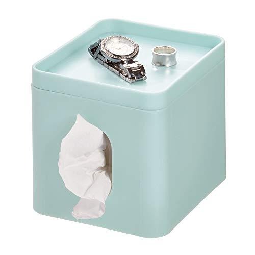 iDesign Cade Facial Tissue Cover, Boutique Box Bathroom Holder for Vanity, Countertops, Desk, Office, Dorm-Matte Soft Aqua