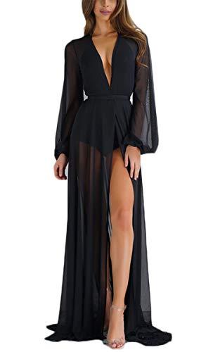 - hujukuludusu Women Sheer Long Dress Gown See Through Kimono Robe Bikini Cover Up (Black, S/M)