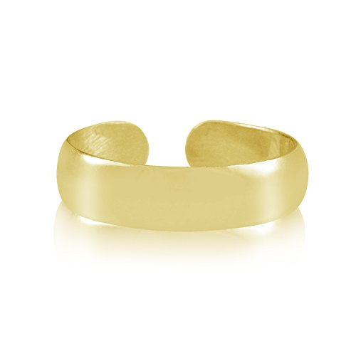 Gold Plated Sterling Silver 4mm Polished Band Adjustable Toe Ring