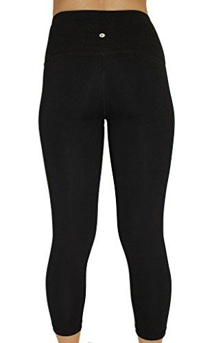 90 Degree By Reflex - High Waist Cotton Power Flex Capri - Black and Oreo Black 2 Pack - Medium by 90 Degree By Reflex (Image #2)