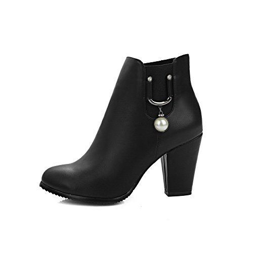 Boots Women's High Toe Round Low Closed Solid Black Soft Top Material Allhqfashion Heels OBnxAwP6x