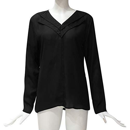 Longue Grande Bureau Tonsi Femme de Blouse Noir Manche T Hauts Chic Taille Chemisier Shirt Top gna8S1q