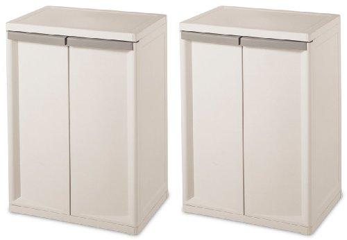 Sterilite 01403V01 Flat White Heavy Duty 2 Shelf Cabinet by STERILITE