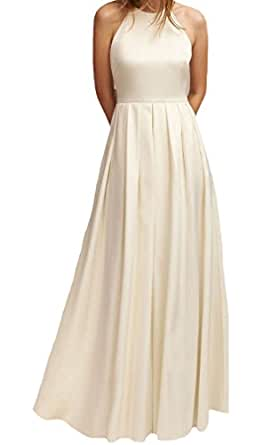 VinBridal Simple Halter Backless a Line Satin Bridal Gown Wedding Dress with Bow