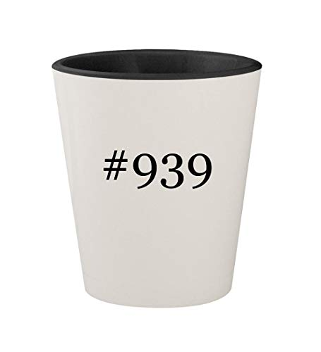 #939 - Ceramic Hashtag White Outer & Black Inner 1.5oz Shot Glass
