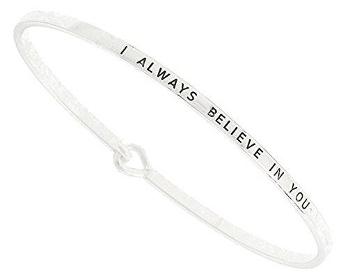 (Gift Boxed) ST Collection Women's -I ALWAYS BELIEVE IN YOU- 3mm Message Silver Plated Brass Bangle Bracelet