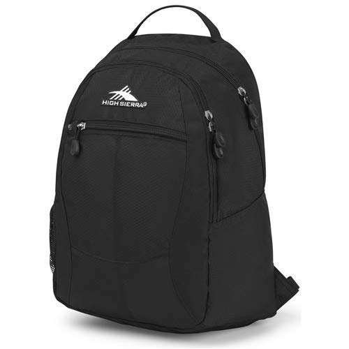 High Sierra Curve Backpack, Black - All-Around Bag with Large Main Compartment and Media Pocket with USB/Cable Port - Ideal for Travelers, Students, and Athletes