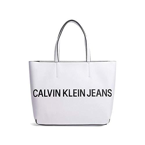 Borsa Donna Calvin Bianco K605246 Logo Sculpted Klein 5gqqwxT