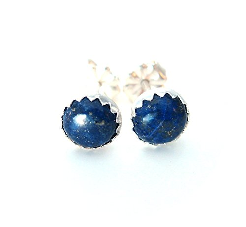 (6mm Round Blue Lapis Earrings Studs )