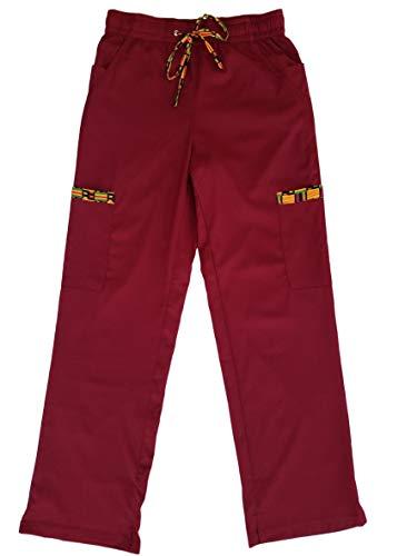 Sankofa Women's Stretch Cargo Pocket Scrub Pants with Traditional Kente Print Accents (Burgundy, Large)