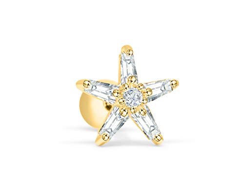 ONDAISY 14k Gold Plated Simulated Diamond Cz Slim Cute Constellation Solid Starfish Star Ear Barbell Ball Stud Earring Piercing