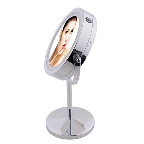 (Lighted Makeup Mirror Double-Sided 7x/10x Magnifying LED Lights 360 Rotation 6'' Illuminated Make Up Vanity Mirror With Lights Round Shaped Makeup Mirror With Light Stainless Steel Polished Chrome Fin)